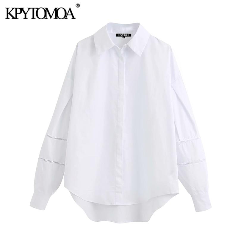 KPYTOMOA Women 2020 Fashion Lace Patchwork Loose Blouses Vintage Lapel Collar Long Cuff Sleeve Female Shirts Blusas Chic Tops