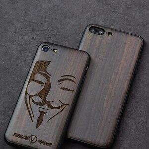 """Image 5 - Чехол для iPhone SE 2, черный деревянный чехол из черного эбенового дерева для iPhone SE 4,7 """", резной ТПУ бампер, деревянный чехол для iPhone se 2020"""