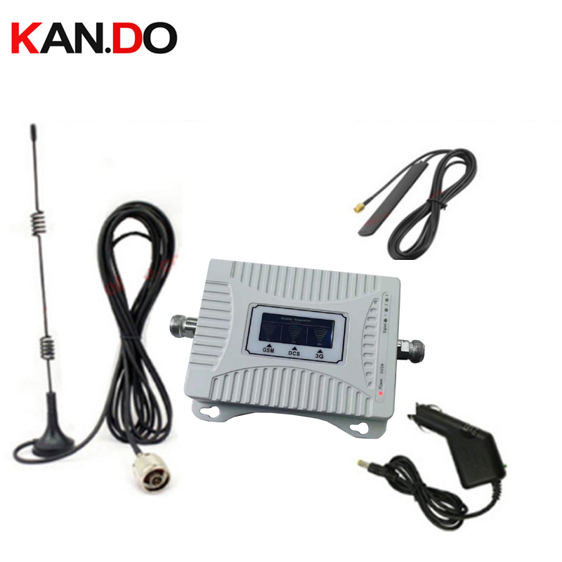 Car Use 2G 3G 4G Booster 900 1800 2100mhz Phone Booster Tri Band Mobile Signal Amplifier LTE Cellular Repeater GSM DCS WCDMA