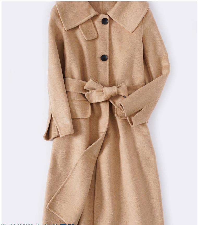 Hand gemacht wolle mantel winter 2019 neue doppelseitige frauen kaschmir mantel herbst woolen mäntel lange jacke große kragen