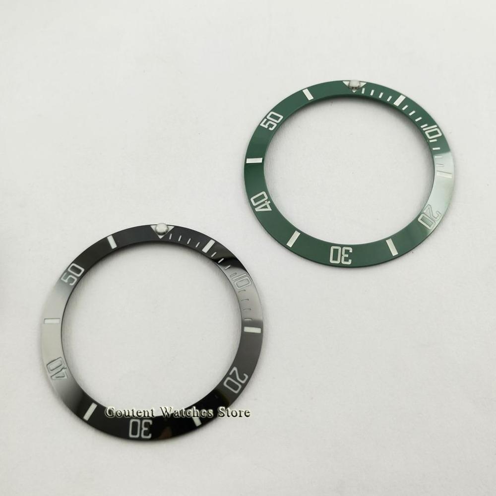 새로운 38mm 슈퍼 그린 빛나는 시계 베젤 삽입 블랙 그린/세라믹 베젤 링 삽입 시계 부품 40mm 시계에 적합