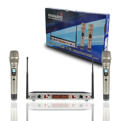STARAUDIO 2 Channel UHF Handheld Wireless Adjustable Frequency Microphone 2CH Church Party Karaoke Stage Microphone SMU-0215A