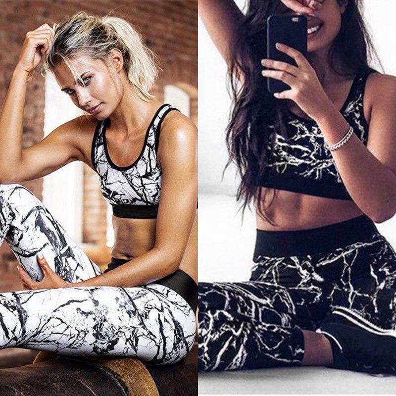 2 Pcs Women's Tracksuit Fitness Clothing Yoga Sportswear Workout Fitness Suit Gym Yoga Wear Gym Clothing