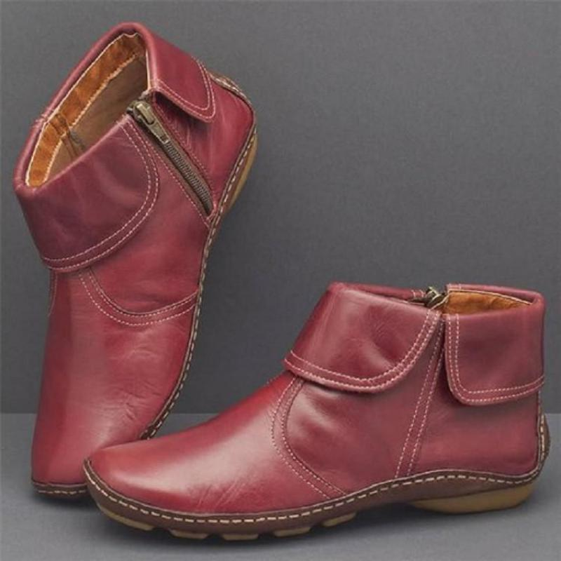 PU Leather Woman Sewing Female Fashion Plus Size Hot Women Ankle Boots Casual Shoes Autumn Ladies Zipper Comfort Soft