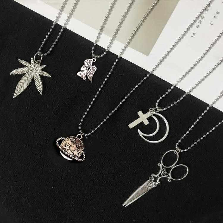 New Upgraded Stainless Steel Pendant Necklace Cross Moon Love Scissors Rabbit Designs Long Chain Party Jewelry for Cool Girl