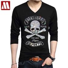 Nowa czaszka najnowsza diamentowa t-shirty elastyczny bawełniany T-shirt z długim rękawem gotycki styl męska wysokiej jakości rhinestone Tshirt duży rozmiar 5XL tanie tanio MYDBSH Pełna CN (pochodzenie) V-neck tops Tees Full Sleeve Suknem COTTON spandex Gothic Czaszki 32 Colors S M L XL XXL XXXL 4XL 5XL