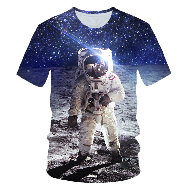 Cat Astronauts Youth Kids T Shirt 3D Printed Short Sleeve Crew Neck Tees Shirts for Boys Children