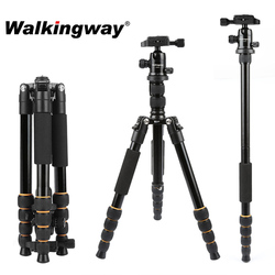 Walkingway Aluminum Protable Q666 Professional Travel Camera Tripod Monopod Ball Head&Phone Holder for DSLR Smartphone Video