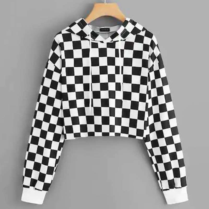 Harajuku Hoodies Tops Short Sweatshirt Women Streetwear Black Autumn White Fashion Plaid