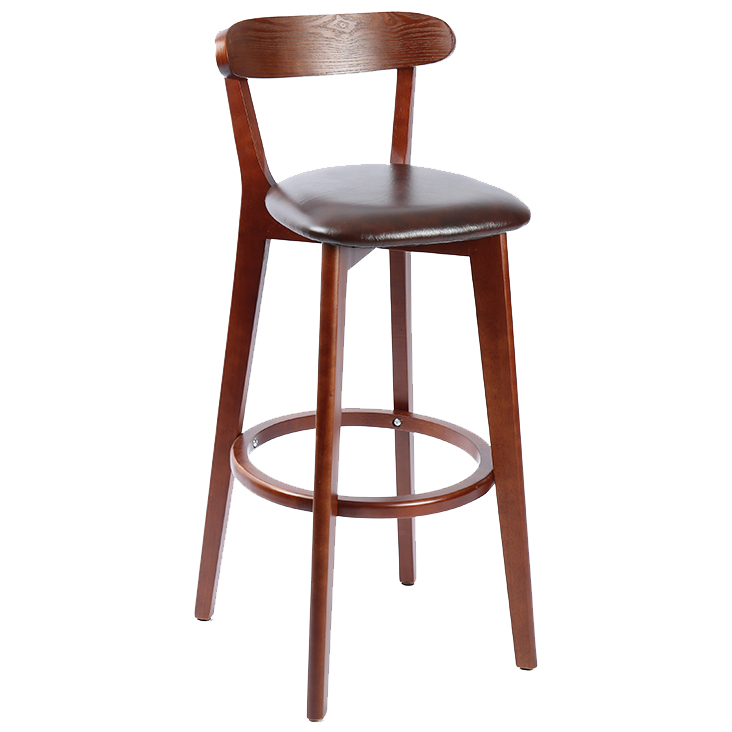 Solid Wood Nordic Bar Chair Modern Minimalist Home  Stool Backrest High  Dining Table  Retro