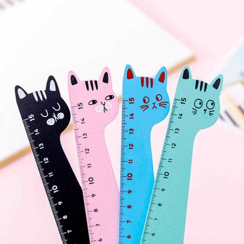 Regla de gato Kawaii accesorios regla bonita novedad papelería regla de Patchwork dibujos animados lindo conjunto de reglas de dibujo suministros escolares