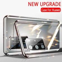 Câmera de proteção magnética caso da aleta para huawei p40 pro plus p40 lite p 40 p40pro 5g capa completa vidro temperado huawey p40 pro