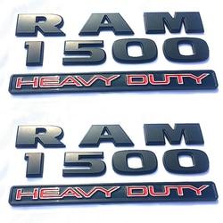 Black Badge 3D Emblem & Chrome Silver Logo Car Sticker For Dodge Ram 1500 2500 3500 Heavy Duty Nameplate Decals styling Set of 2