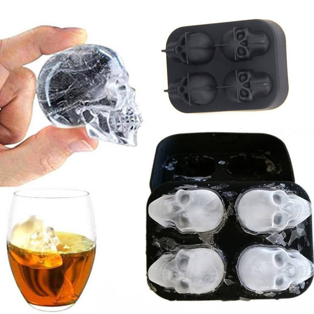 1PC 3D Skull Silicone Ice Cube Maker Form For Ice Candy Cake Pudding Chocolate Molds 4 Cell Ice Mold Square Shape Trays Molds 5