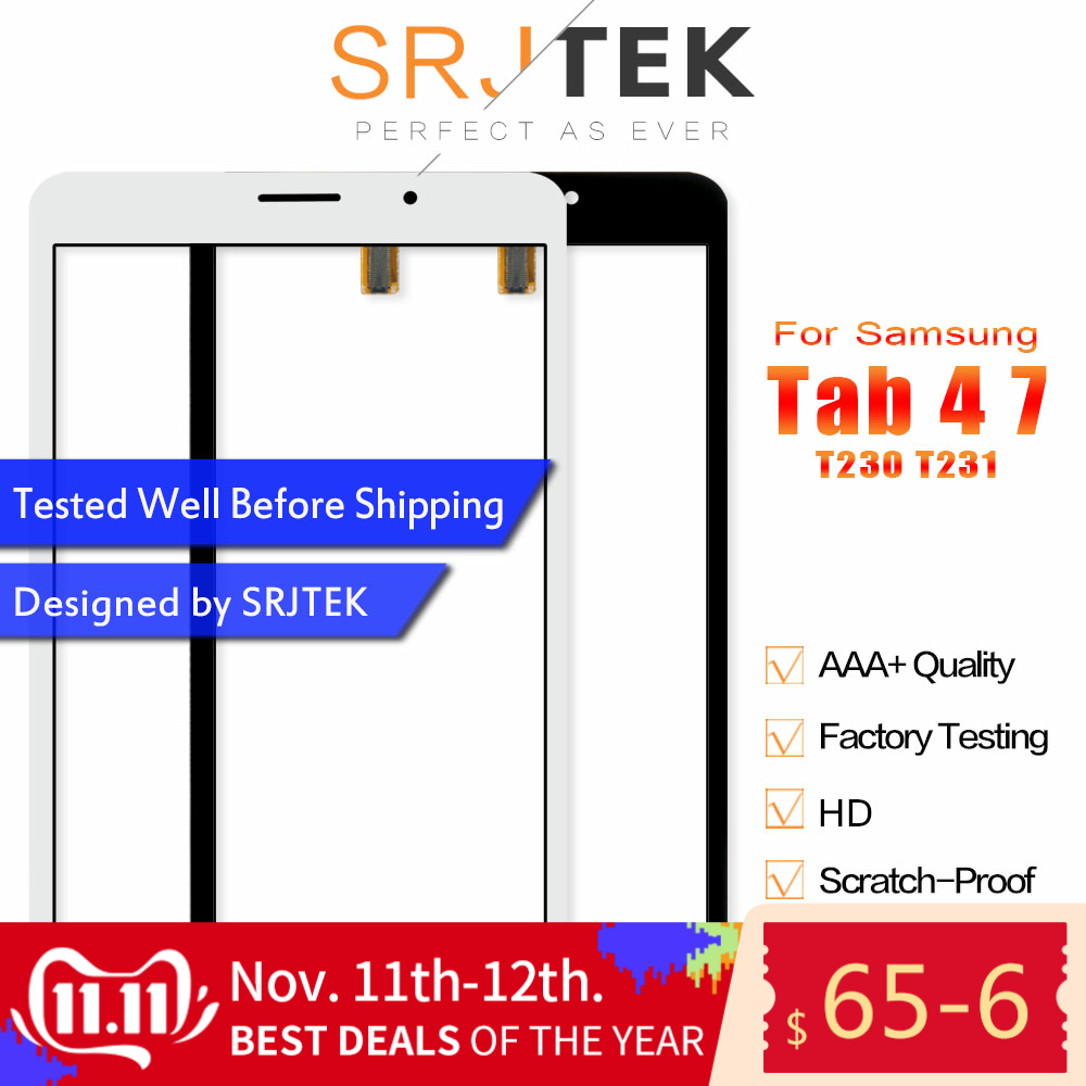 Srjtek 7'' For Samsung Galaxy Tab 4 7.0 T231 SM-T231 T230 SM-T230 Touch Screen Digitizer Sensor Panel Tablet Replacement Parts