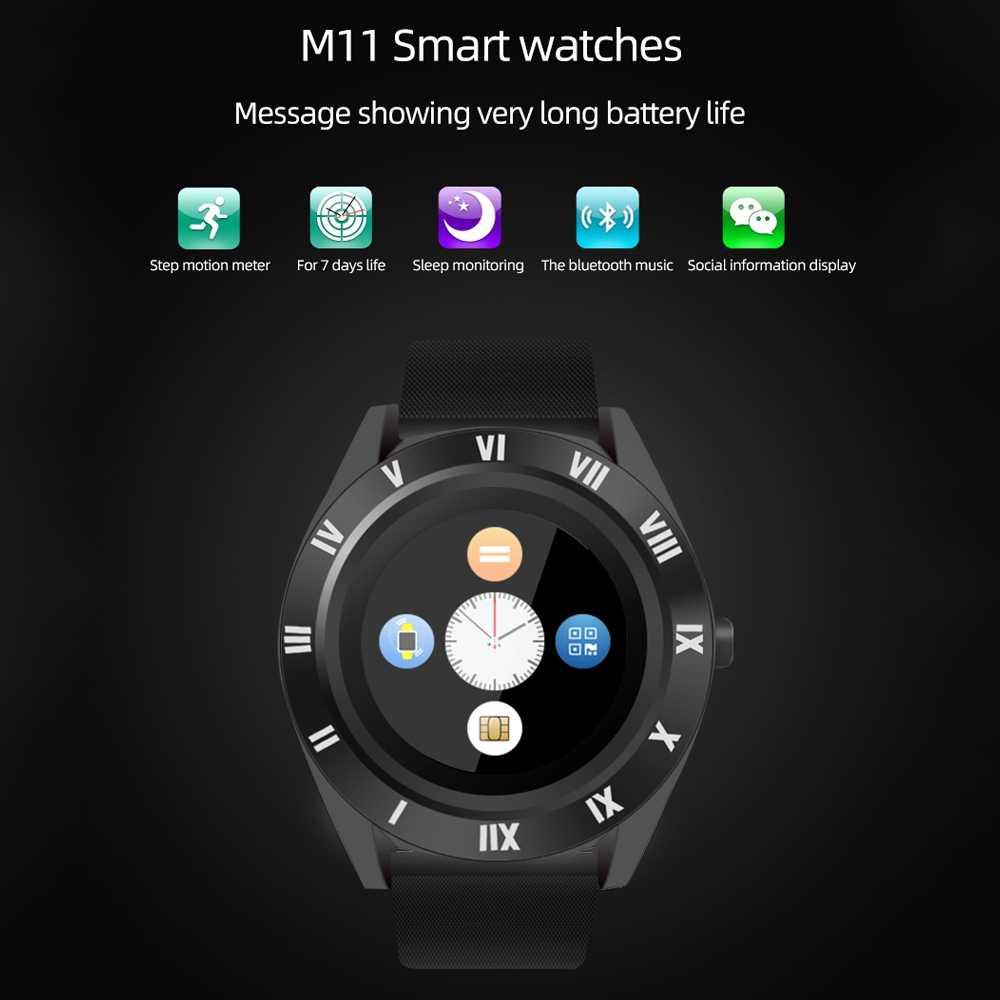 M11 спортивные мужские Смарт-часы sim-карта android камера округлый ответ на вызов набор вызова Smartwatch фитнес-трекер для измерения сердечного ритма