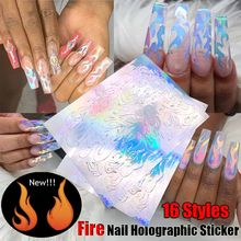 Holographic Fire Flame Hollow Stickers Fires Thin Laser Silver Stripe Nail Art Stickers 6*8cm DIY Manicure Tool 16 Styles(China)