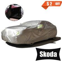 Bâches de voiture complètes pour accessoires de voiture avec porte latérale Design ouvert étanche pour Skoda Octavia a5 Kodiaq Fabia Karoq Rapid Yeti