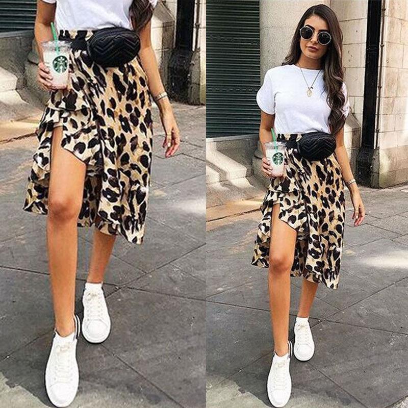 New High Waisted Asymmetric Stretch Leopard Skirt For Women Girl Party Mid-Calf Bodycon Skirt