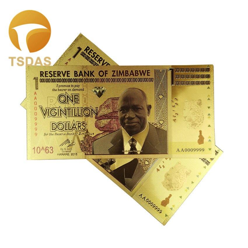 Zimbabwe 100 Trillion Dollars Lot 10 PCS FANCY note Color 24K Gold P-91