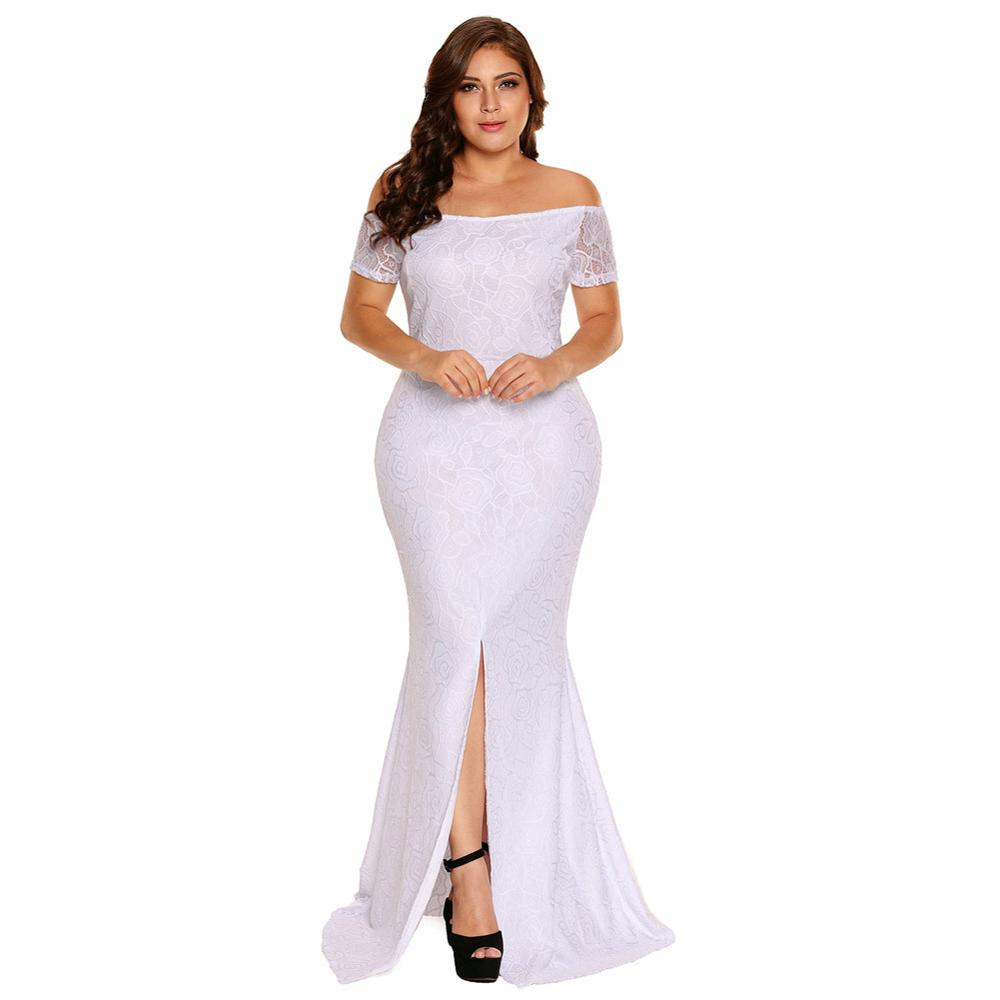 Plus Size Mermaid Long Evening Dresses Lace Short Sleeves White Mother Of The Bridal Dress Front Side Split Formal Lady Gown