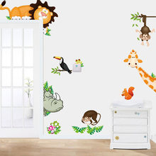 2015 Jungle Animal Baby Nursery Child Home Decor Mural Wall Sticker Decal stickers muraux wall stickers for kids room decoration(China)