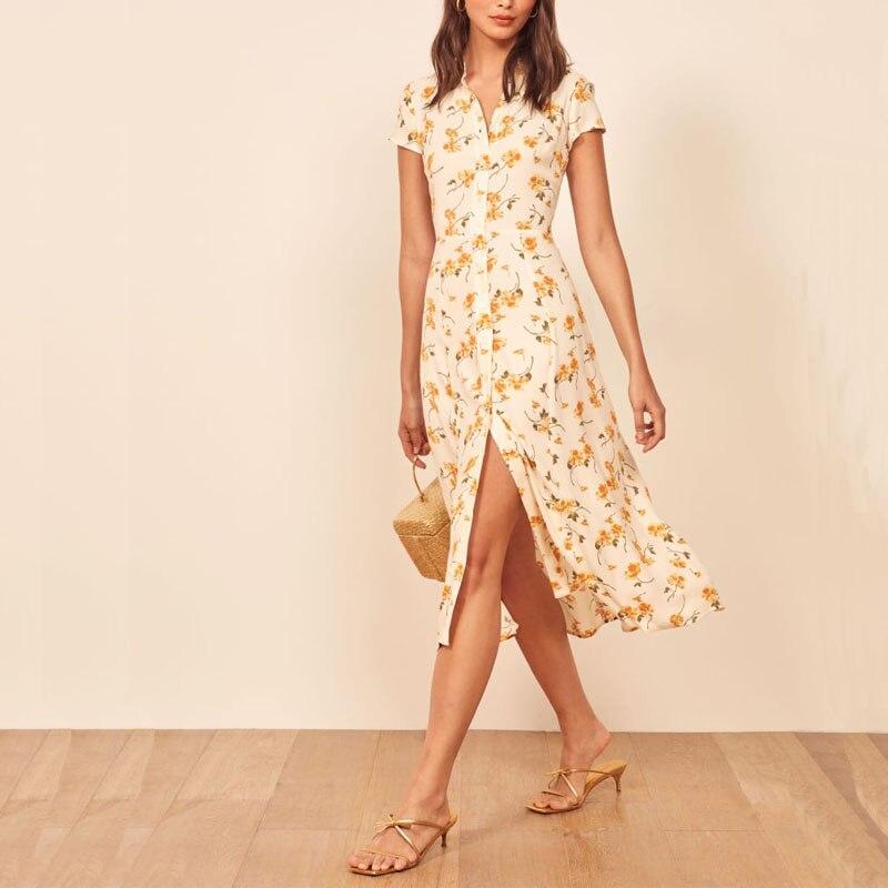 Women Casual Summer Dress Flower Print Short-sleeved Dress Lapel Vestidos
