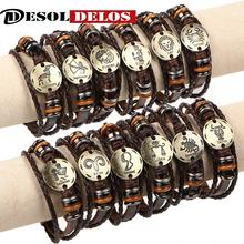 12pcs/set 12 Constellations Bracelets Bangles Fashion Punk Leather Bracelet Men Vintage Zodiac Signs Women Wristband 2019