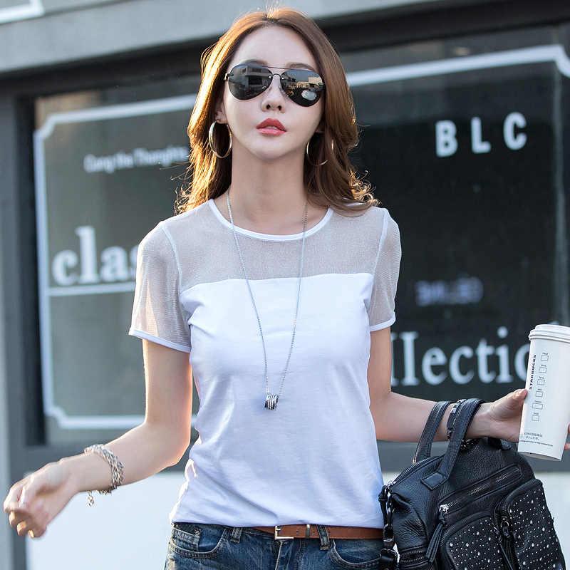 2020 летний женский топ с коротким рукавом, элегантная белая футболка, Женская Офисная рубашка из прозрачного хлопка, Blusas Mujer LX1707