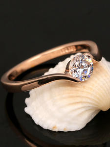 Jewelry Rose-Gold-Color Engagement/wedding-Finger-Rings Cubic-Zirconia Women Fashion-Brand