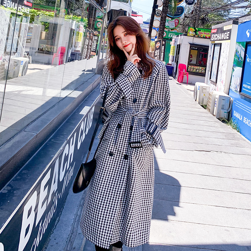 2019Autumn winter  coat trench oversize long trench casual women's Korean temperament  slim  Blake Lively duster Coats