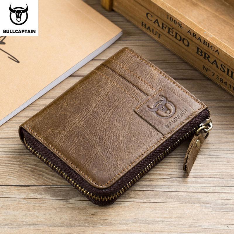 BULLCAPTAIN Leather Retro Men's Wallet Short Buckle Wallet Card Holder Purse Coin Purse RFID Wallet Holder