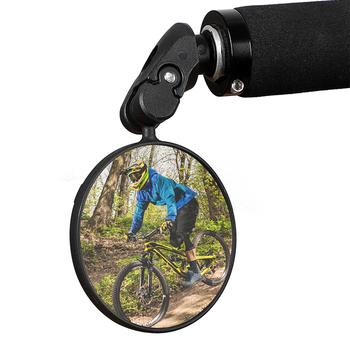 MTB Road Bike lusterko wsteczne kierownica rowerowa zakończone lusterka 360 obrót szerokokątny kolarstwo lusterka wsteczne bezpieczeństwo akcesoria tanie i dobre opinie CN (pochodzenie) 360 Rotate Bicycle Rearview Mirror ABS Plastic 360 Degree Rotatable Foldable Cycling Safety Mirror Portable Bicycle Accessories