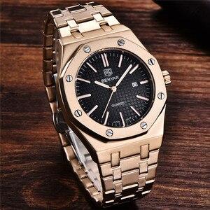 Image 3 - BENYAR Men Watch Top Brand Luxury Rose Gold Waterproof Military Male Clock Sport Stainless Steel Calendar Man Wristwatch 5156