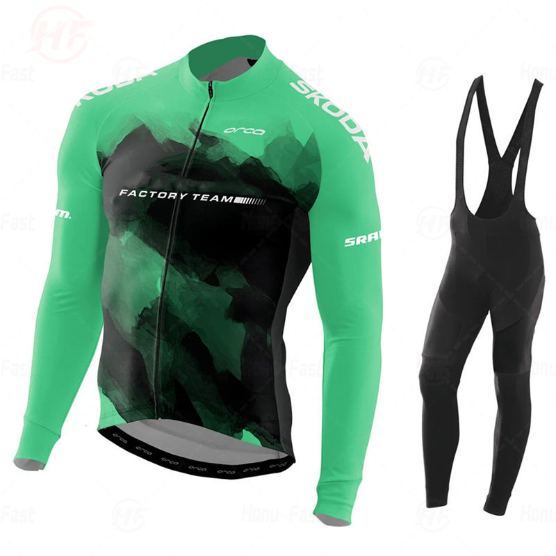 Breathable Cycling Clothes Set MAGLIA MANICHE LUNGHE ORBEAFUL FACTORY TEAM 2020 Long Sleeve Summer Jersey Men Suit MTB Clothing