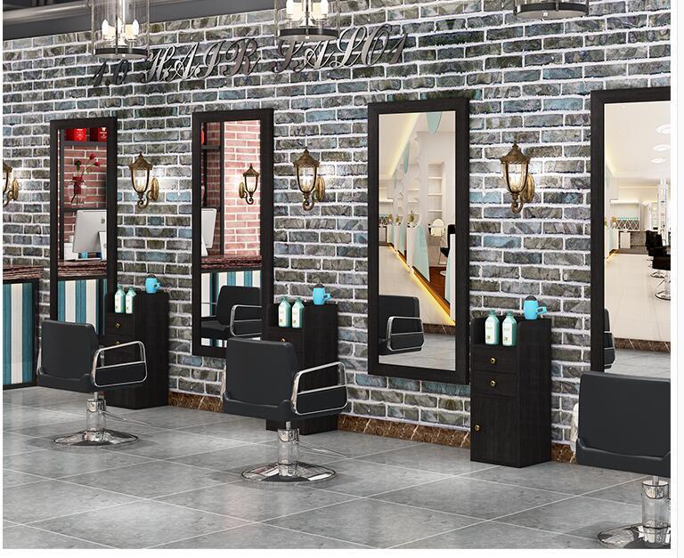 Solid Wood Retro Barber Shop Mirror Hair Salon Mirror Table Wall-mounted Makeup Single Side Mirror Frame Hair Salon Landing Tool