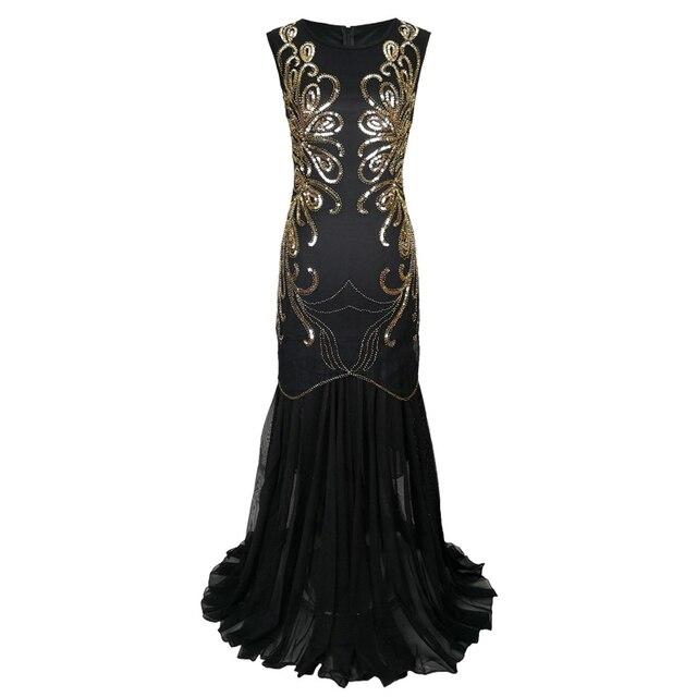 Women Vintage 1920s Great Gatsby Dress 20s Flapper Party Formal Dress Sexy O-Neck Sleeveless Beaded Sequin Mesh Mermaid Dress 2