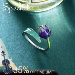 Image 1 - 特別なブランドファッションエナメル花リング紫チューリップエンドオープンリングサイズ調整可能な女性S1720R