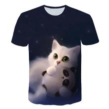 Dzieci lato z krótkim rękawem koszulki z krótkim rękawem dla dzieci 3D kot T koszule zwierząt koszulki z krótkim rękawem chłopcy koszulki z krótkim rękawem jednorożec topy dla 4T-14Years tanie tanio BIAOLUN Poliester spandex Nowość Pasuje prawda na wymiar weź swój normalny rozmiar Unisex Tees tops O-neck REGULAR