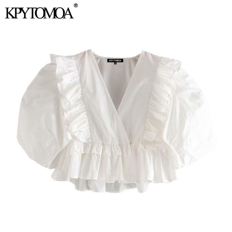 KPYTOMOA Women 2020 Sweet Fashion Ruffled Cropped Blouses Vintage V Neck Puff Sleeves Female Shirts Blusas Chic Tops