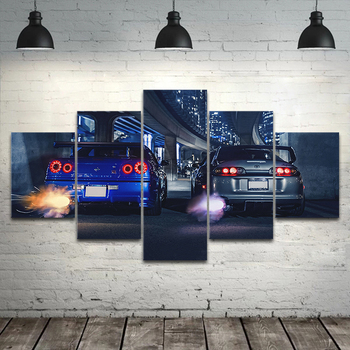 5 piece wall art frame GTR R34 VS Supra vehicle modern 5 panel canvas painting HD print for living room home decor poster азбука по слогам девочка