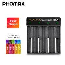 PHOMAX 4 חריץ 18650 MC4 LED חכם תצוגת סוללה טעינה מהירה 17650 18700 14500 26500 IMR/ליתיום נטענת סוללה מטען