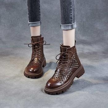 Buty damskie 2021 nowe buty skórzane Martin buty podeszwie buty wiosenne sandały Zapatillas Mujer Chaussure Femme tanie i dobre opinie yunyiwa Klinowe buty na deszczową pogodę CN (pochodzenie) Zima Do kolan W stylu koreańskim Hollow Stałe korean version