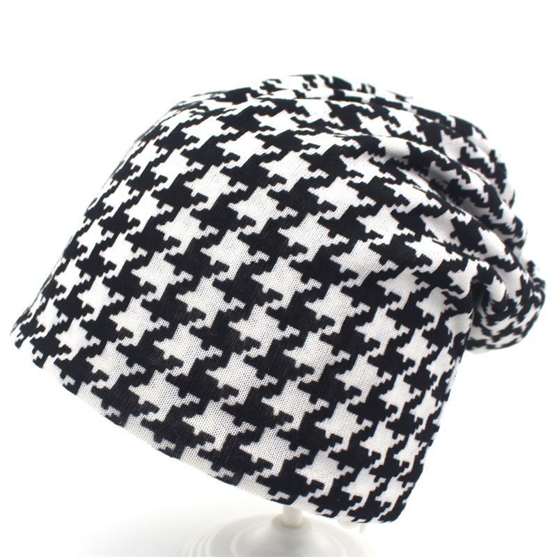 Hat Wowen In Women's Caps Houndstooth Hooded Hat Fashion Plaid Stripe Thin Warm Female Autumn And Winter Bib Dual-purpose Beanie