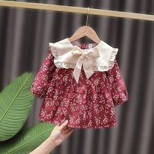 Little Fragrant Style Dresses Spring Autumn Baby Dresses For Girls Floral Long Sleeve Peter Pan Collar Infant Kids Dress 2021