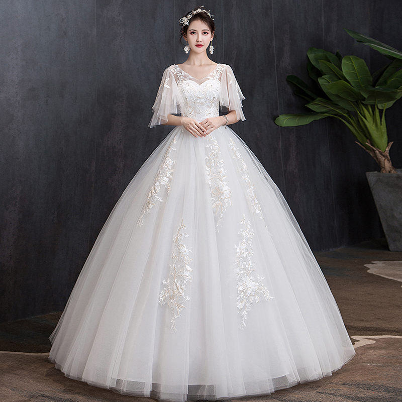 Wedding Dress Lace Up 2020 New Bride Plus Size Embroidery Wedding Dresses Bridal Ball Gowns Vesstido De Novia