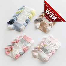 5 Pairs Mesh Short Socks Baby Neonatal Summer Cotton Stripes Kids Girls Boys Children Socks For 0-8 Year Sokken Sock Skarpety цена