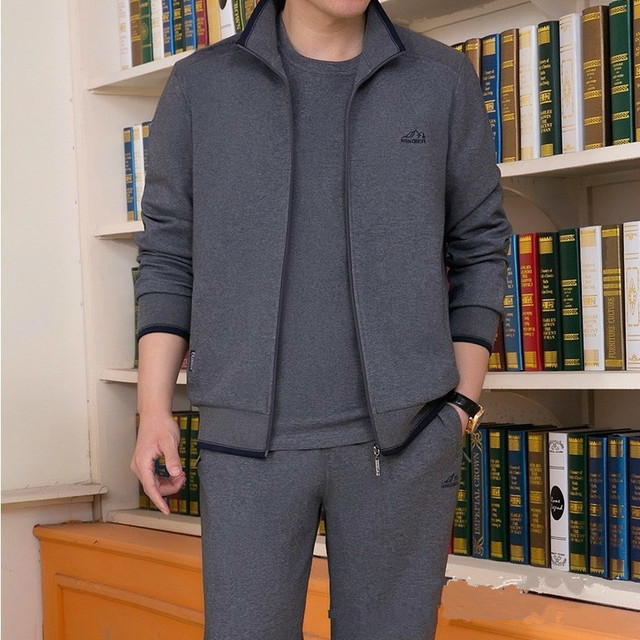 Mens Sportswear Two Piece Set 2020 Autumn New Casual Tracksuit Stand Zipper Gray Sweatshirt Sweatpant Survetement Homme