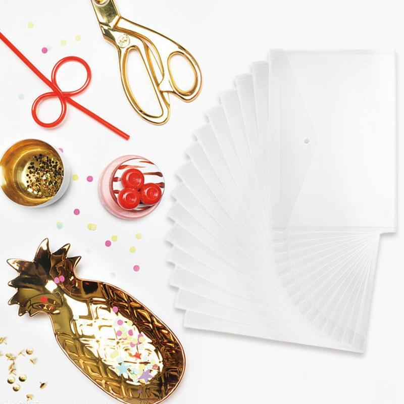 1pc A4 File Bag Transparent Plastic White Thicken Button File Folder Document Organizer Carpeta Archivador School Folder