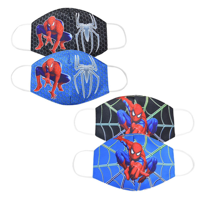 2020 Adult Kids Cotton Masks Spiderman Print Men Women Dustproof Earloop Face Mask Health Fashion Non-disposable Mouth Muffle
